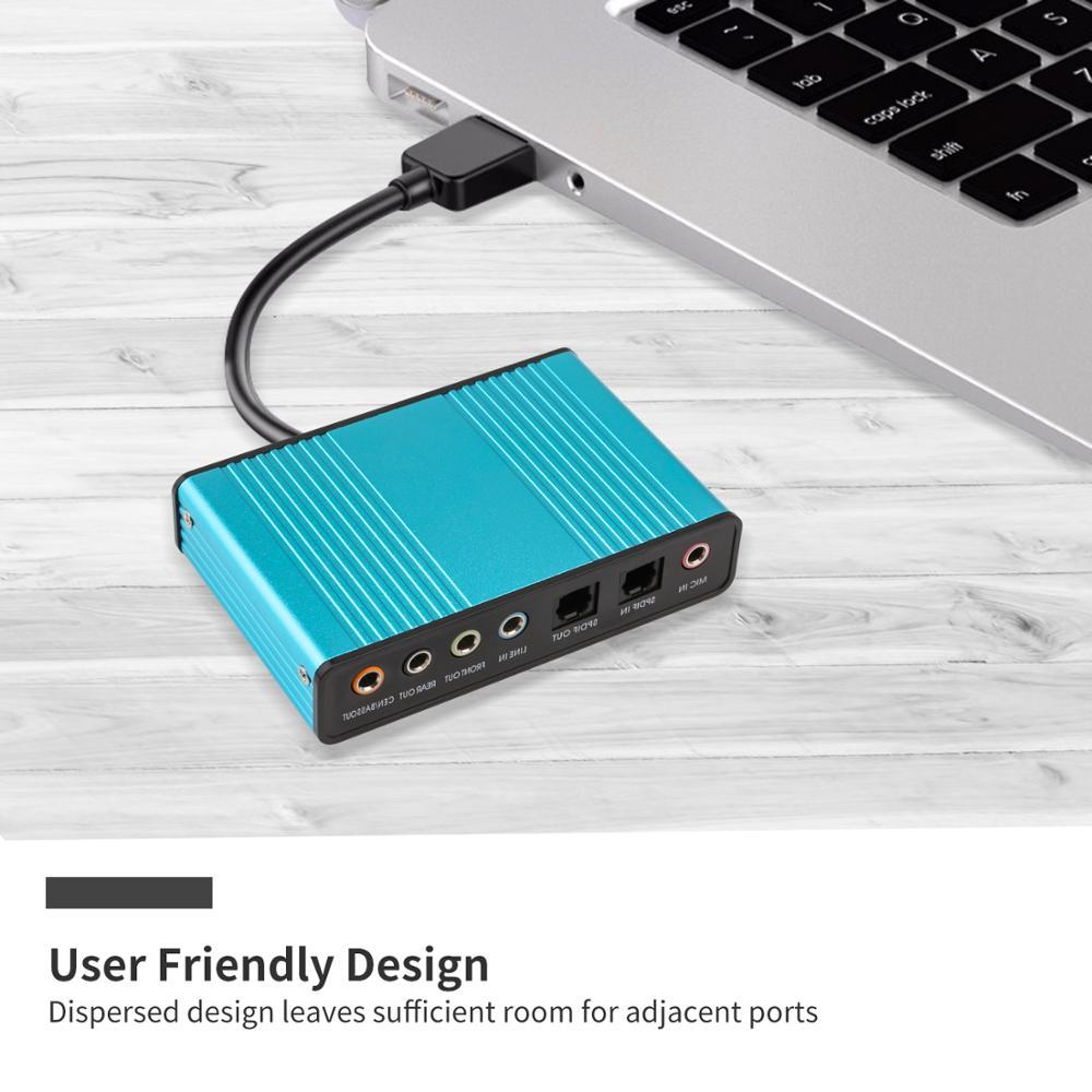 Professional USB Sound Card 6 Channel 5.1 Optical External Audio Card Converter CM6206 Chipset for Laptop Desktop 2
