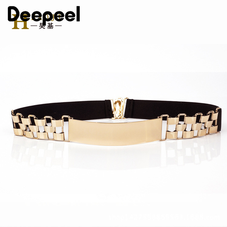 Deepeel 1pc 4cm*60-80cm  Women's High Waist Metal Cummerbunds Women Elastic Corset Belt Watch Decoration Golden CummerbundsYK725