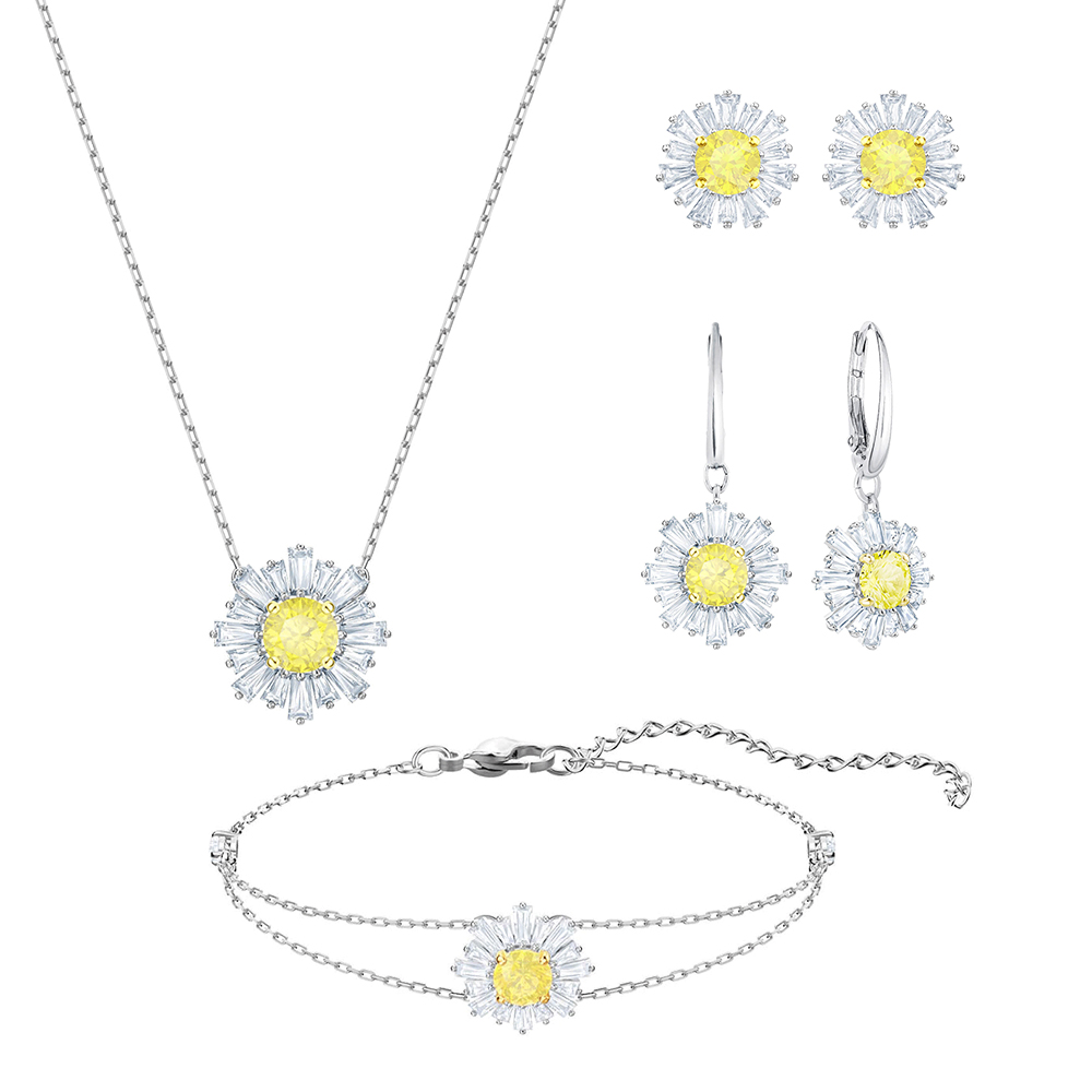 SWA Delicate Original SUNSHINE Fashion Glamour Women Jewels Love And Warm Care Sun Crystal Clavicle Necklace Set Birthday Gift