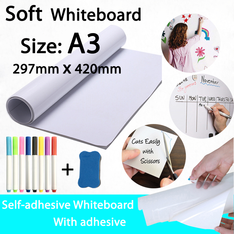 A3 Size Self-sticking Whiteboard School Dry Erase White Board Message Board Fridge Wall Sticker With Marker Eraser