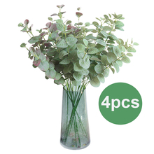 4 Pcs Artificial Greenery Leaves Branch Eucalyptus Leaf in Green Silk Plastic Plants Floral for Home Party Wedding Room Decor