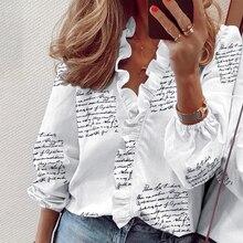 2021 Summer Long Sleeve Ruffle Blouse Shirts Elegant Sleeveless Letter Print Lady Slim Short Sleeve Blouses Women V-Neck Tops