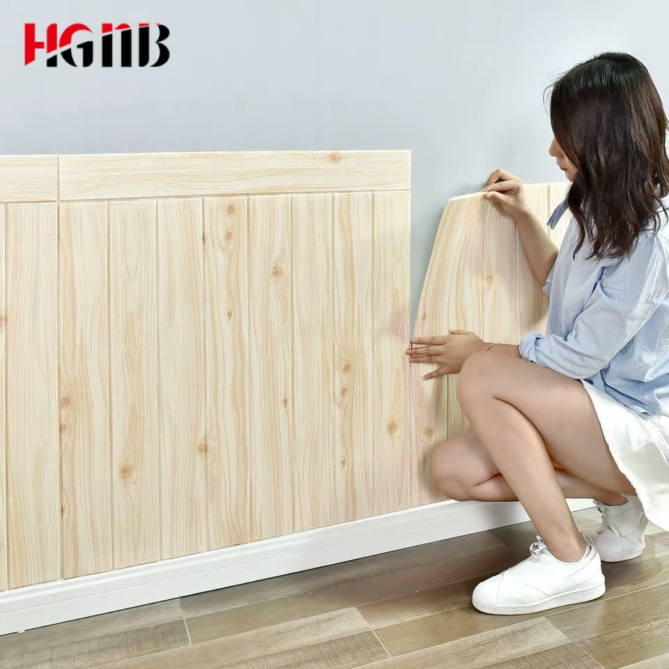 Self Adhesive 3D Wood Wallpaper For Living Room TV Background Wall Skirt Foam Wall Paper Bedroom Home Decor 3D Wall Stickers