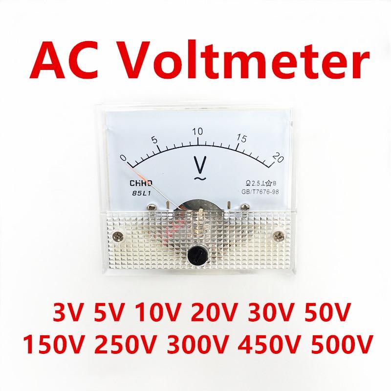 85L1 AC аналоговая панель измерителя напряжения 3 в 5 в 10 в 20 в 50 в 150 в 250 в 300 в 500 в механический вольтметр