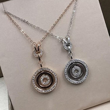 Ailie high quality original fit Bulgaria 925 silver necklace rotating round shape brand design ladies fashion luxury jewelry diana high quality for bulgaria s925 sterling silver necklace rotating round cake shape brand design ladies fashion jewelry