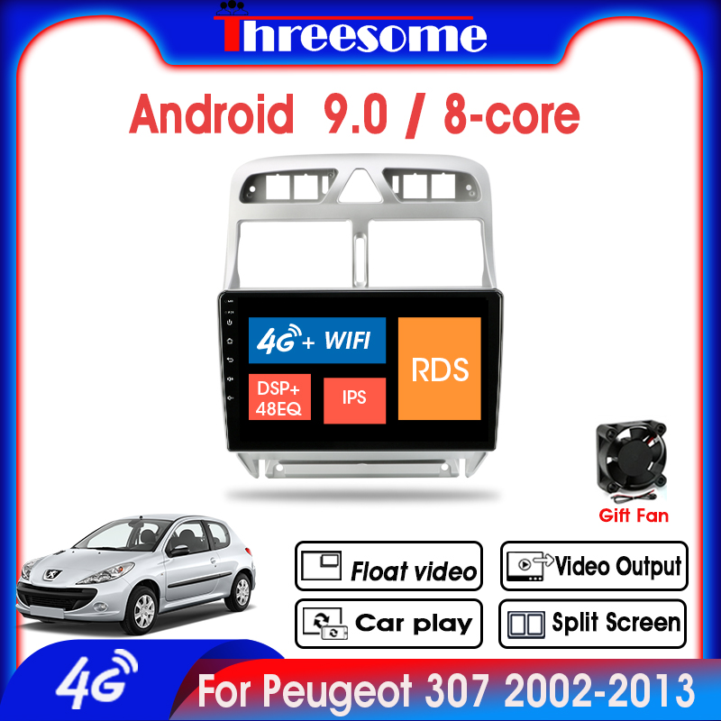 Android 9.0 2 Din <font><b>Car</b></font> <font><b>Radio</b></font> For <font><b>Peugeot</b></font> <font><b>307</b></font> 2002-2013 4G+64G Multimedia Player 4G NET 8 Core GPS Split Screen Floating window image
