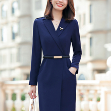 Women Dresses Autumn Winter Elegant Slim Hips Dress OL Styles Professional Business Work Wear Beauty Salon Vestidos with Belt