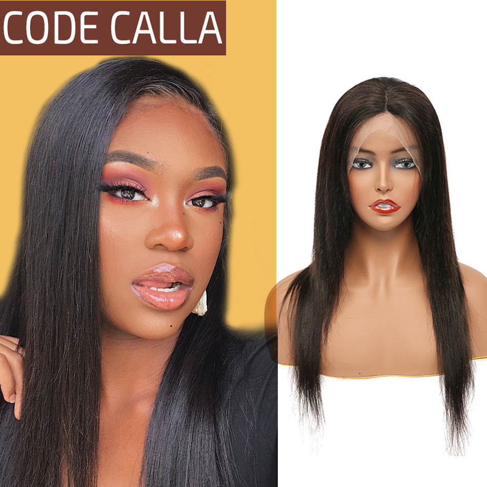 CODE CALLA 13*4 Lace Frontal Wigs Indian Human Hair Lace Front Pre-Plucked Hairline 150%Density Natural Color Straight Hair Wigs