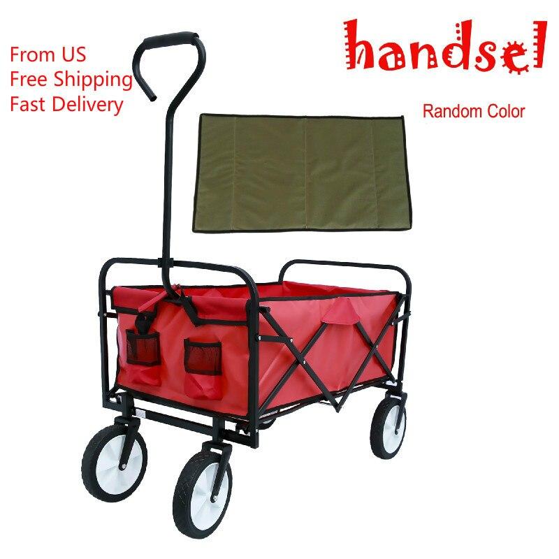 Outdoor Utility Shopping Cart Heavy-duty Steel Frames Durable 600D Polyester Fabric Folding Wagon Garden Shopping Beach Cart