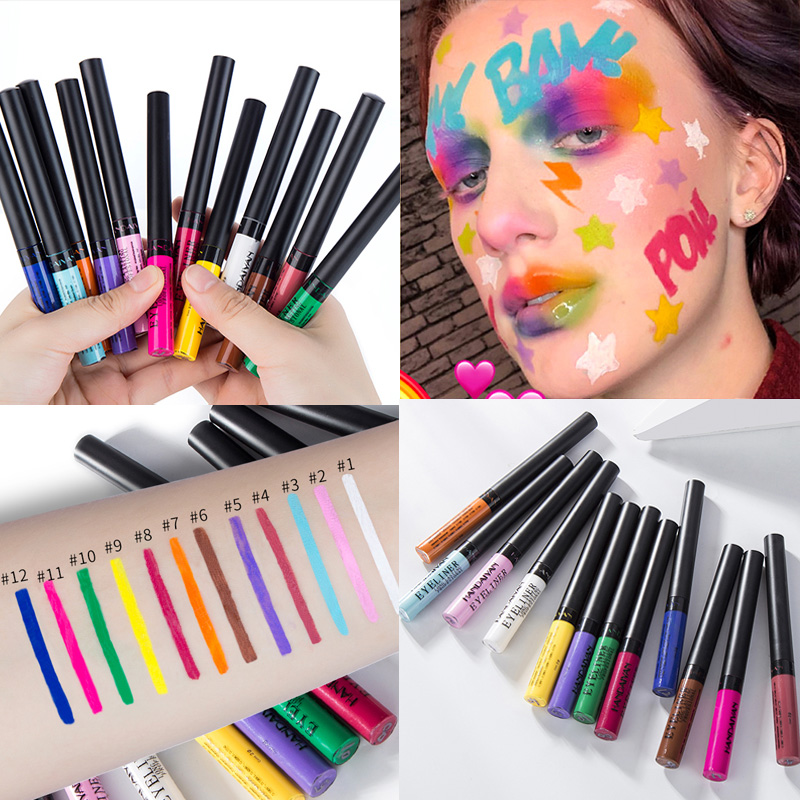 12 cores kit a prova dwaterproof agua fosco neon colorido lapis delineador de longa duracao maquiagem