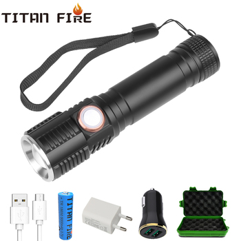 T20 LED Flashlight Rechargeable T6 8000LM LED Torch Waterproof 3 Modes Bike Light 18650 Lantern Camping Hiking Lamp Dropshipping 8000lm led xml t6 zoom flashlight torch zoom able bike lamp light lamp torches lantern 18650 battery charger bike clip z50