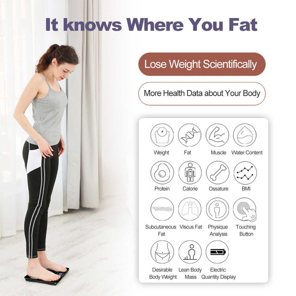 Monitor eletrônico inteligente do analisador da composição do corpo da escala da gordura corporal do imc de digitas profissionais da elevada precisão