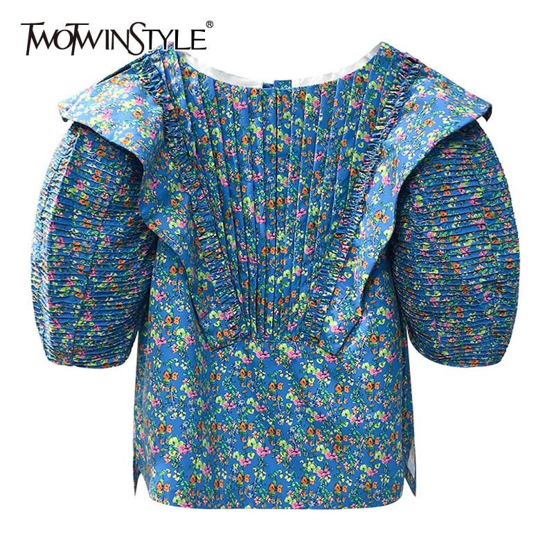 TWOTWINSTYLE Print Patchwork Ruffle Shirt For Women O Neck Lantern Sleeve Side Slit Blouse Female 2020 Summer Fashion New