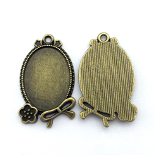 5pcs/lot 18x25mm Necklace Pendant Setting Antique Bronze Glass Cabochon Blank Base Supplies for Jewelry Finding