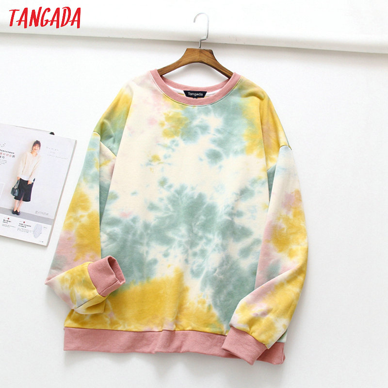 Tangada Women Tie Dye Oversized Sweatshirts Long Sleeve Japanese Style Pullovers Ladies Casual Tops XLJ24