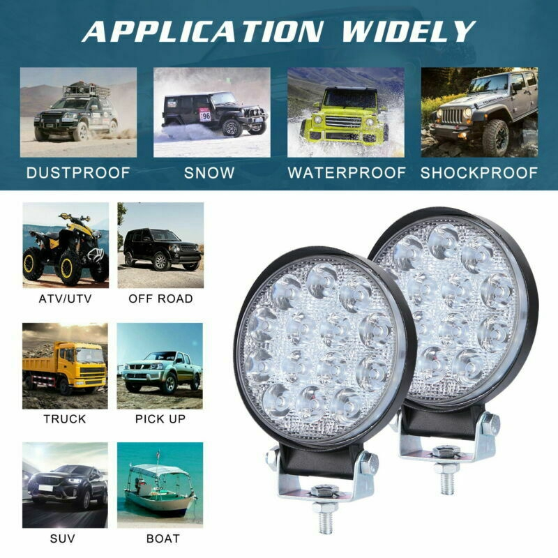 Car Auto LED Work Light Spot Round Lamp Offroad White 6000K 12V/24V 140W Part
