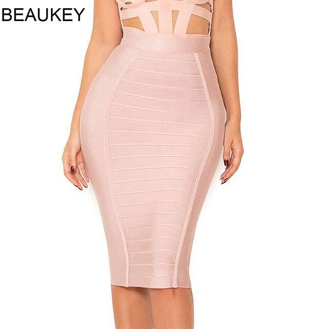 BEAUKEY Fashion Sexy Pencil Bandage Skirt High Waist Horizontal Stripes Skirt  XL Nude Black White Party Bodycon Plus Skirt