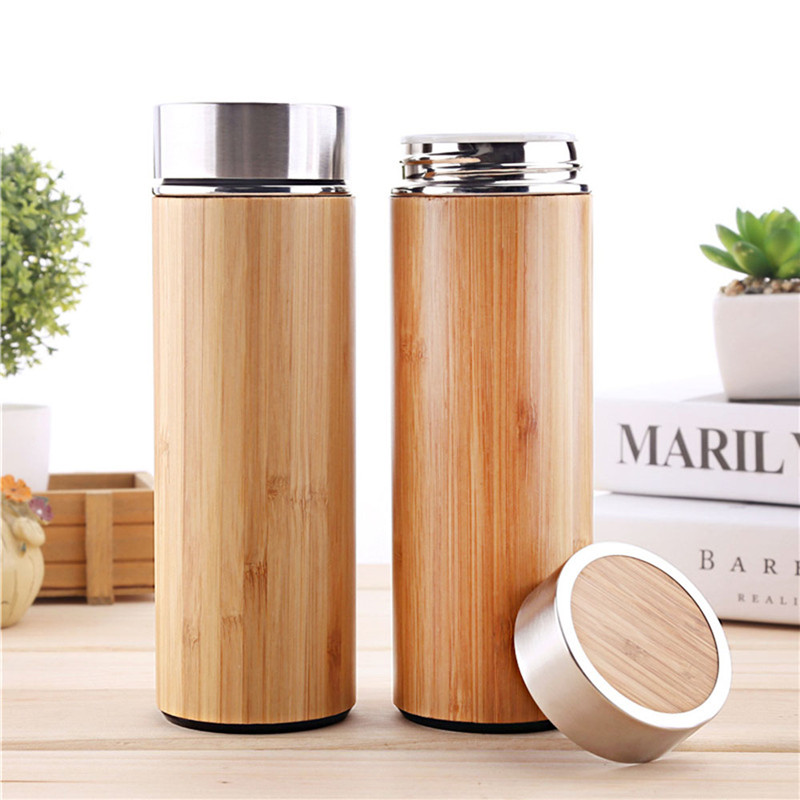 Image 5 - 1PCS/Pack Creative Bamboo Thermos Bottle 450ml Stainless Steel Tumbler Vacuum Flasks Insulated Bottles Coffee Mug For Travel Tea-in Water Bottles from Home & Garden