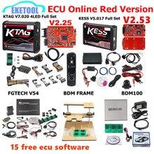 Czerwony ue KESS V5.017 SW2.53 KTAG V7.020 SW2.25 FGTECH V54 0475/0386 BDM rama BDM100 1255 KESS 5.017 KTAG 7.020 15 bezpłatny ECU jako prezent