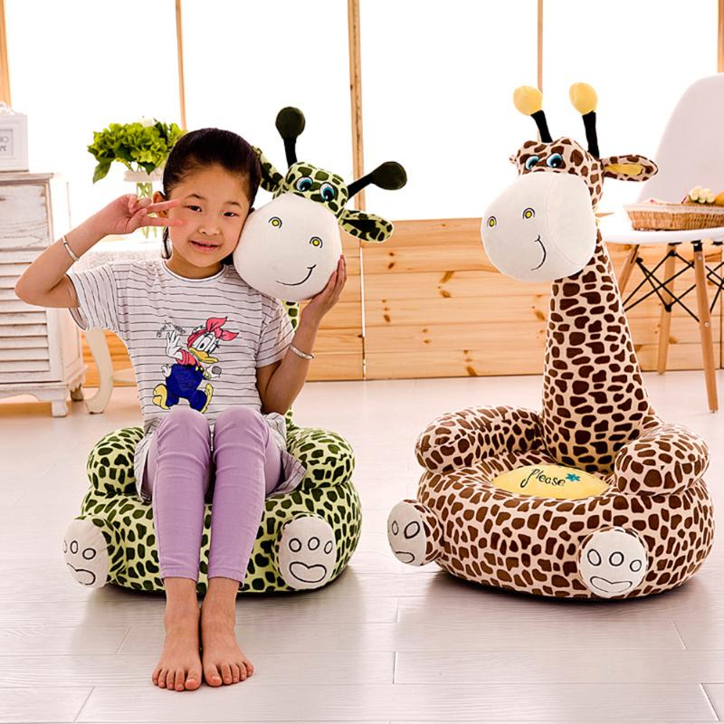 2020 Newest Cute Giraffe Baby Sofa Seat Cover Learning To Sit Chair Case Without Filler Soft Crystal Toddler Learning  Seat