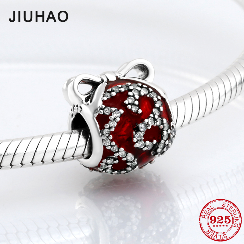 Fashion 925 Sterling Silver sparkling red CZ Bow tie beads Fit Original Pandora Charm Bracelet Jewelry making 2018