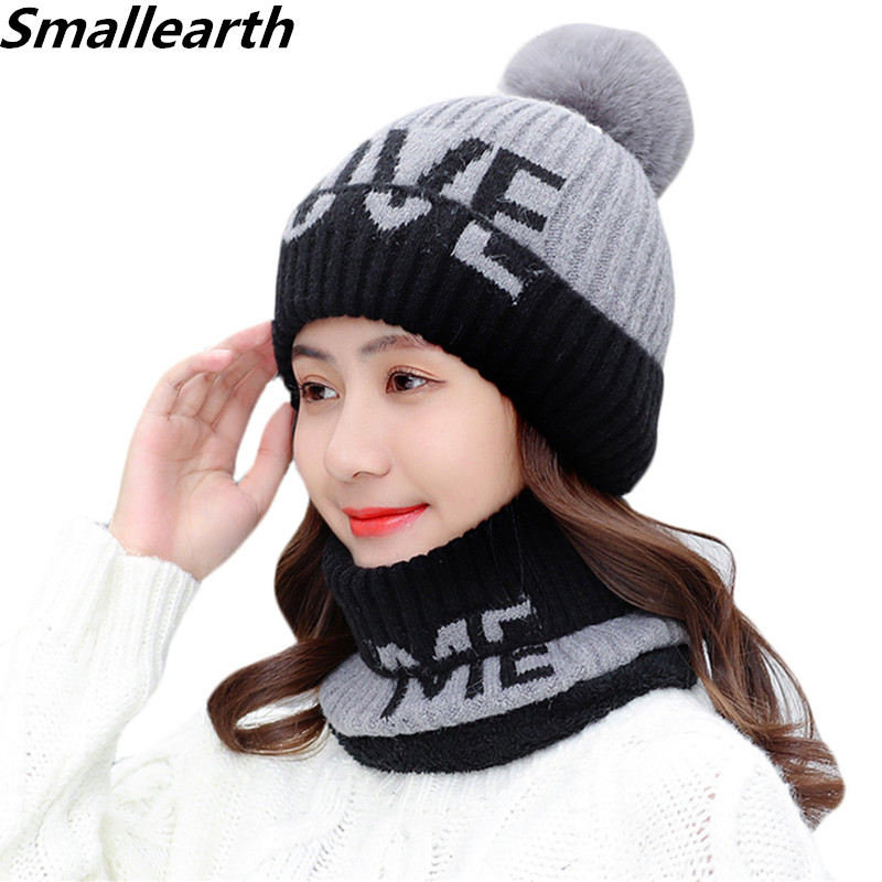 2019 Autumn Winter Women Plus Velvet Hat Scarf Sets Knitted Wool Warm Scarf Thick Windproof Balaclava Hats Scarves Set For Girls