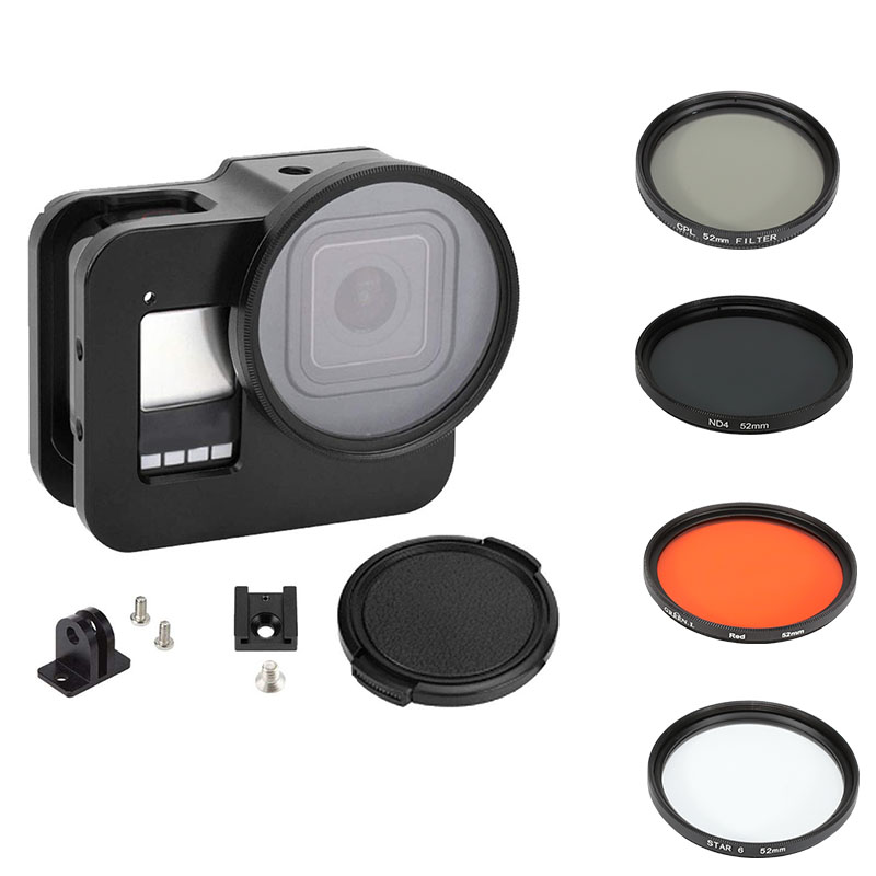 Aluminum Protective Case Cage For GoPro Hero 8 Black With 52mm Adapter Ring CPL/Red/ND4/8/16/Star/10x Macro/Filter For Go Pro 8
