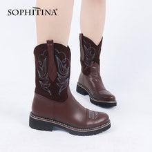 Женские ковбойские сапоги sophitina удобные до середины икры