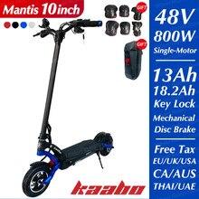Original kaabo mantis scooter 800w único motor 48v 13ah 18.2ah skate de duas rodas kickboard 10 polegada