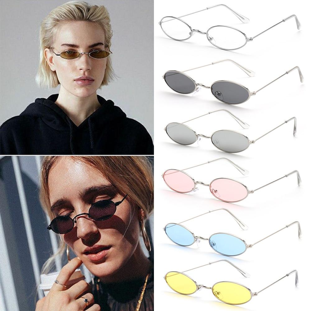 1 pc occhiali da sole ovali piccoli retrò donna Vintage tonalità di marca nero rosso metallo colore occhiali da sole occhiali da vista di Design di moda 2