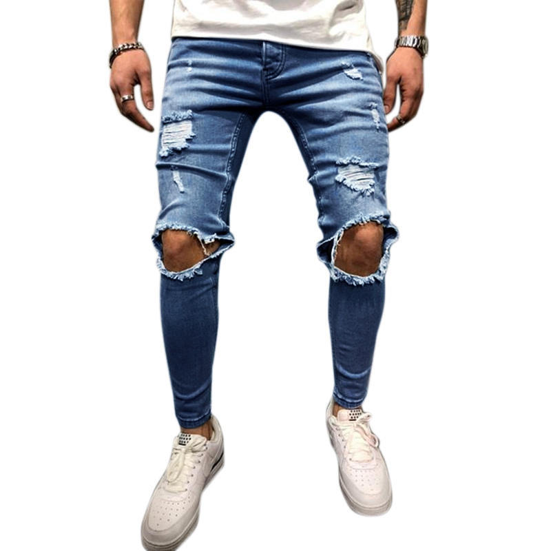 Men Ripped Jeans Distressed Pants Knee Rips Solid Black ALL SIZES