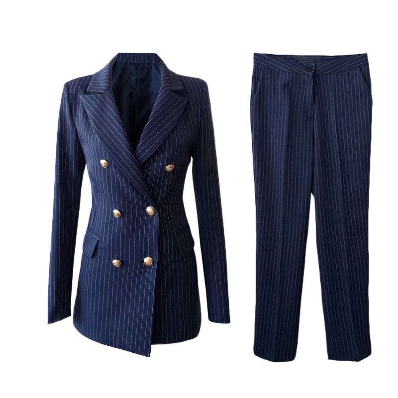 2019 Autumn New Women's Suits Pants Suit High Quality Vintage Slim Striped Long Sleeve Professional Small Suit Casual Trousers