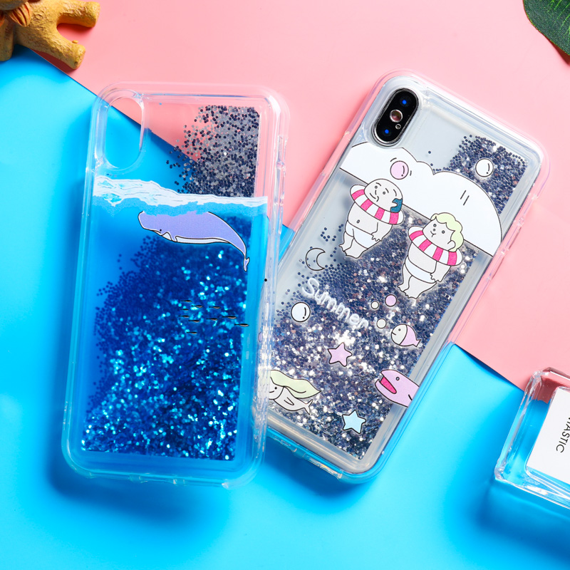 Painted Glitter Phone Case For iPhone 11 Pro XS Max X XR Liquid Quicksand for 7 8 Plus 5S 6S 6 Cover Bling Sequins