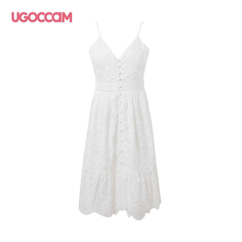 UGOCCAM robe en dentelle Sexy femmes robe fronde col en v Mini robe en coton blanc robe de noël robe de grande taille vestidos de verano