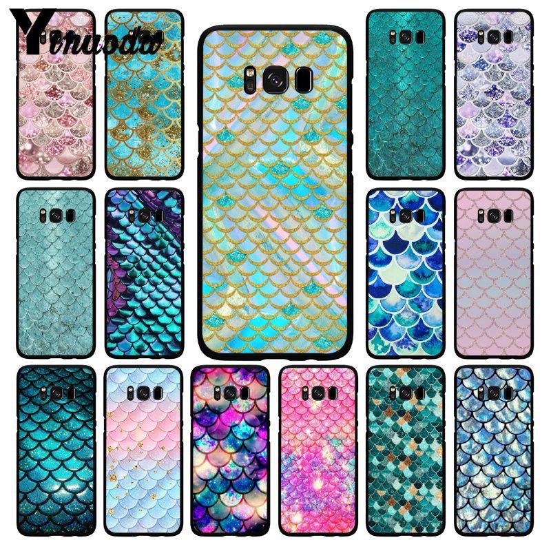 Yinuoda Rosa Lila Glitter Mermaid Waagen Telefon Fall für Samsung Galaxy S20 S10 Plus S10E S6 S7 S8 S9 S9Plus s20 S10lite