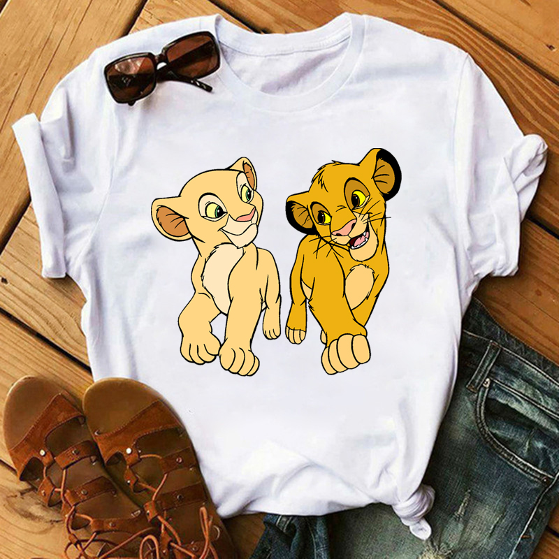 HAKUNA MATATA The Lion King Cartoon Funny Short Sleeve T Shirt Women Two Little Lions Printed Casual O-Neck Tee Shirt Femme