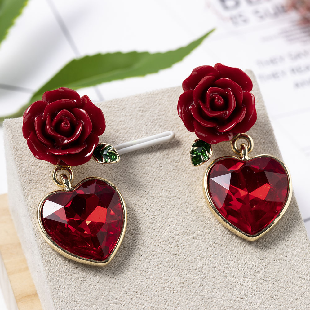 Fashion Jewelry Elegant New Arrival Red Color Rose Design Creative Lovely Memorable Heart Pendant Earring