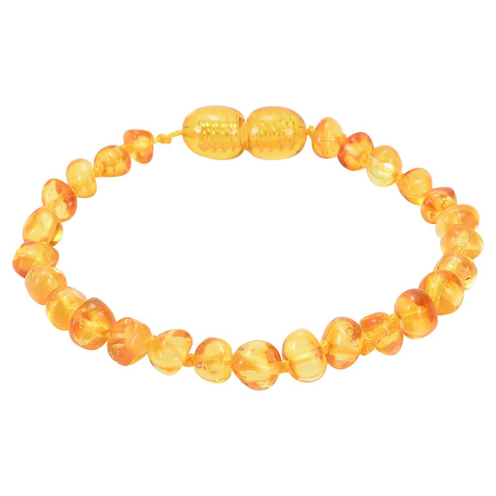 Natural amber baby teething bracelet