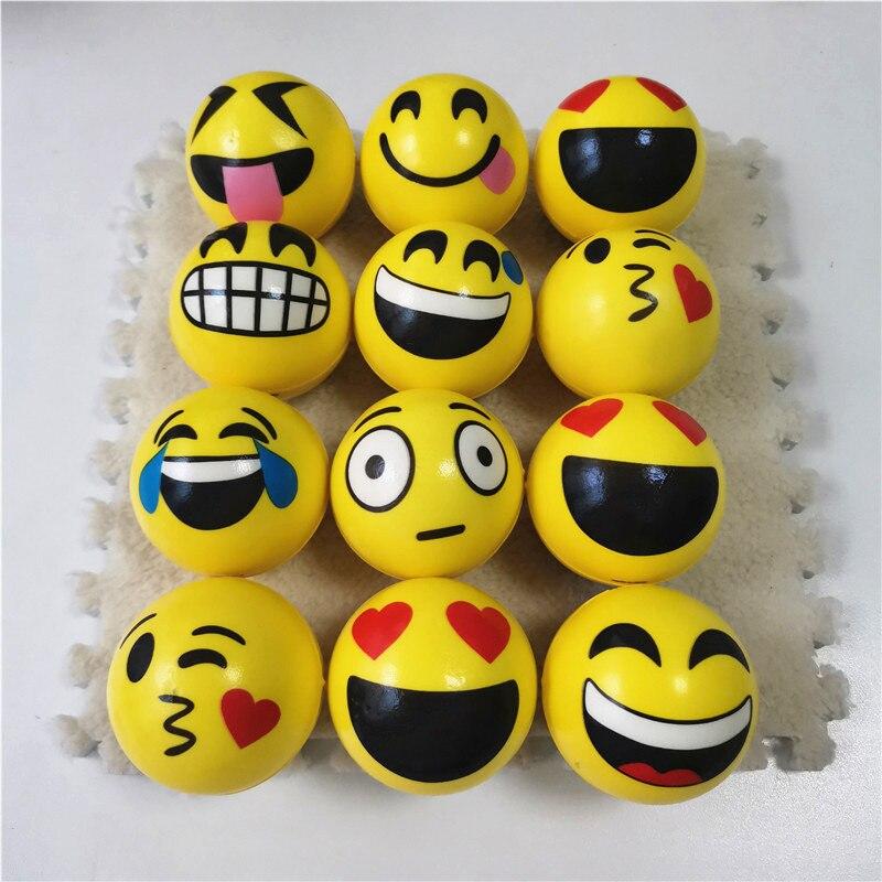 Anti Stress Ball Relief Yellow Cartoon Expression Big Smile Kiss Face PU Foam Balls Rehabilitation Toys 6.3cm 12pcs