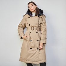 British Down Trench Coat Winter White Duck Down Jacket Women Hooded Long Thick Warm Jackets Puffer Feather Female Parka Mujer