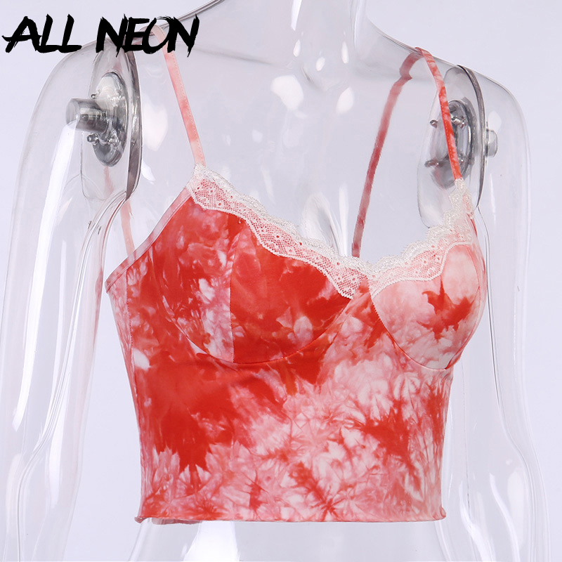 ALLNeon E Girls Summer Tie dye Spaghetti Strap V neck with Lace Red Camis Y2K Aesthetics