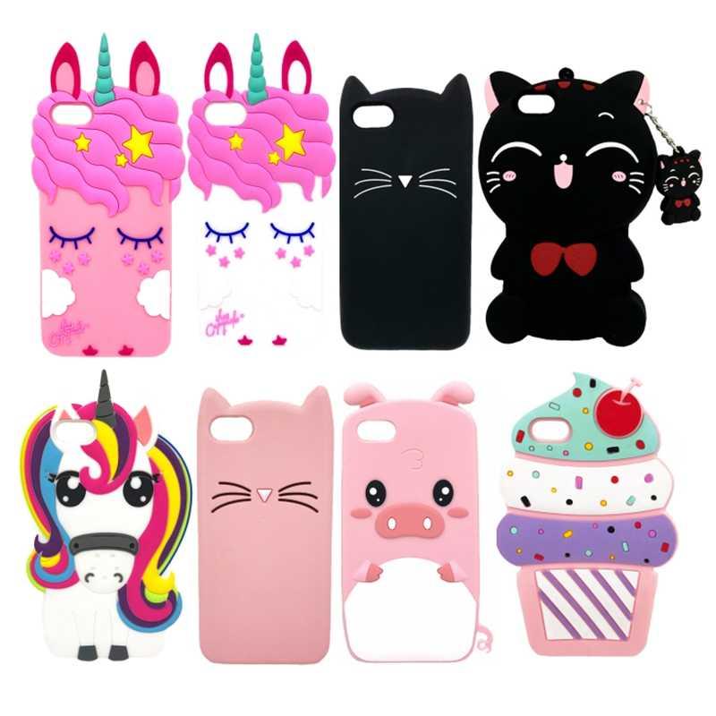 Sevimli 3d Silikon Yumuşak Telefon Kılıfı Için Iphone 5 S Se Için Karikatür Durumda Iphone5 5 S Siyah Pembe Kedi Unicorn Ayı Piglet Arka Kapak Telefon Tamponu Aliexpress