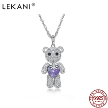 LEKANI Lucky Bear Sterling Silver Necklace Crystals from Swarovski Necklaces Animal Pendant for Women Jewelry luxurious Gift New lekani crystals from swarovski necklace925 ms exquisite prom necklace christmas snowflake square pendant necklace