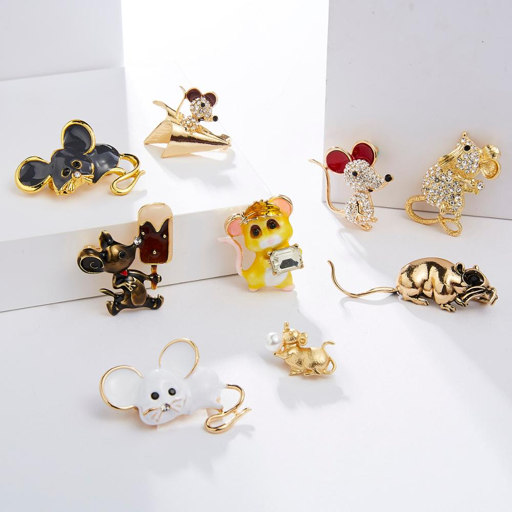 Cute Gray White Zircon Mouse Brooches For Women Gold Color Alloy Brooch Pins New Year Party Fashion Clothing Brooch Jewelry 2019
