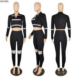 CM.YAYA Aktive Tragen Sport Brief Cut Out frauen Set Langarm Tops Jogger Hosen Anzug Trainingsanzug Zwei Stück Set fitness Outfit