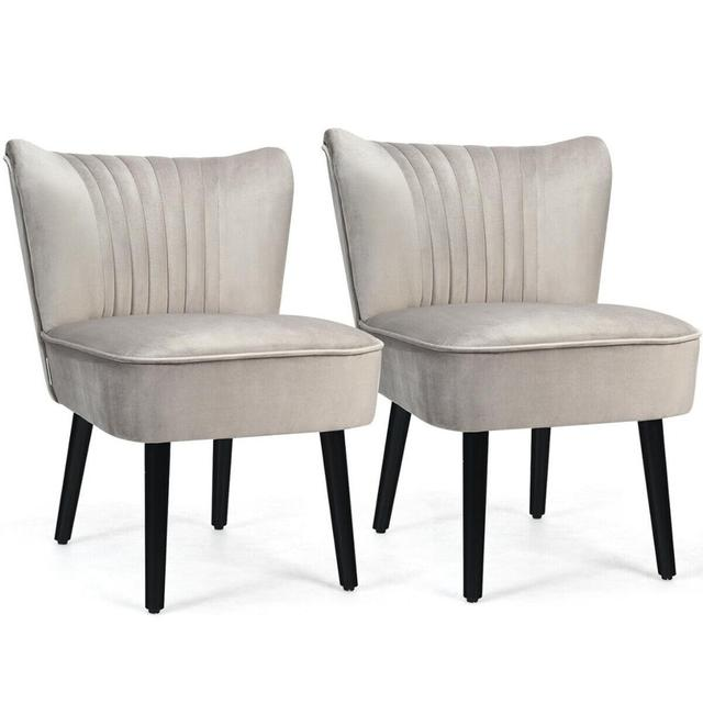 Set of 2 Armless Accent Leisure Chairs  1