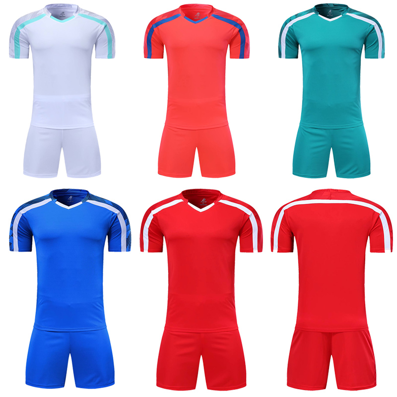 men short sleeve red soccer jersey set green football uniform blue kids soccer shirt customized name number(China)