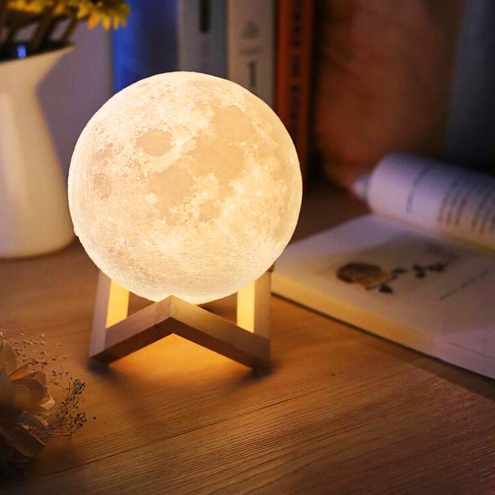 3D Print Night Light LED Moon Lamp Rechargeable 3 Colors Touch Switch New Year Gift For Bedroom Decoration Dropship