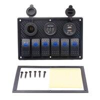 Digital Voltmeter 12V Cigarette Socket DoubleB Power Charger Adapter Flush Mount Waterproof 6 Gang Rocker Switch Panel Black Car Switches & Relays     -