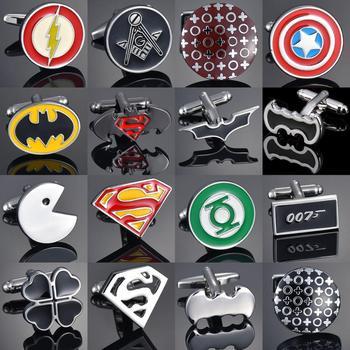High Quality Copper Men's French Shirt Cuff Button Movie Animation/Superman/Batman/007 Super Hero Series CuffLinks